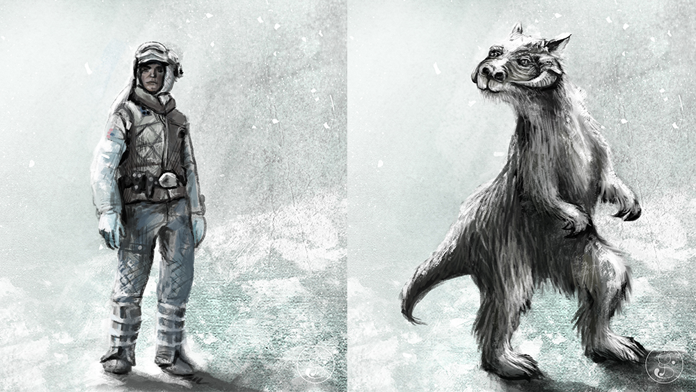 Left: Luke Skywalker – Homo Sapiens from planet Tatooine. Right: Tauntaun – Reptomammal from the ice planet Hoth.