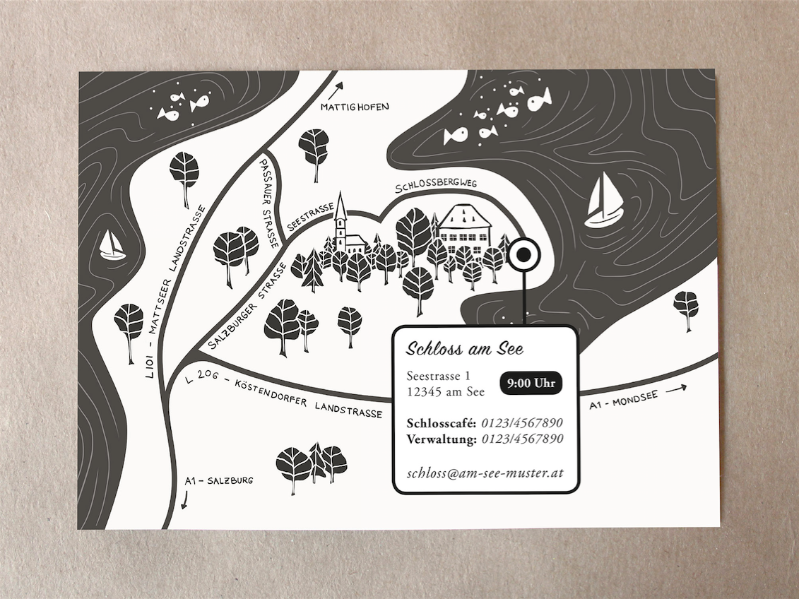 … and on the back of the card a map and contact details of the event location.