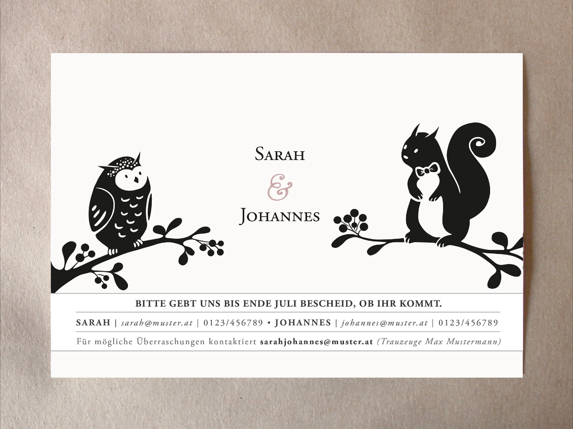 In addition to the invitation, guests receive a seperate card with all the important information regarding the event:  Contact details of the bride, groom & the best man…